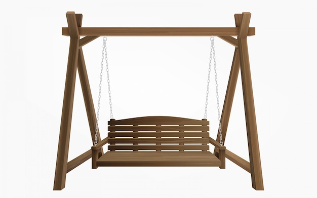 Wooden porch swing bench hanging isolated