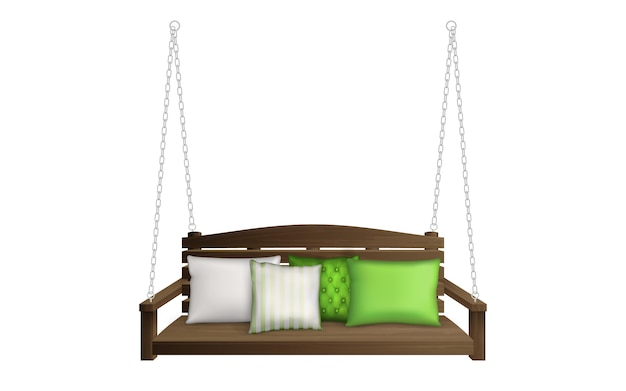 Wooden porch swing bench on ropes with pillows