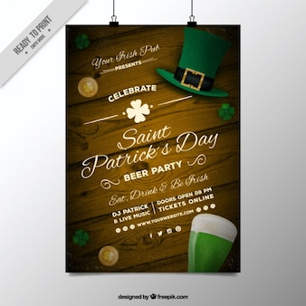 Wooden poster saint patrick's day