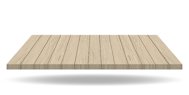 Wooden presentation board top on white background
