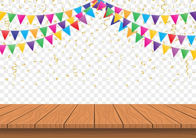 Wooden presentation board top with colorful flags with confetti background vector