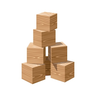 Wooden realistic vector blank bricks building tower