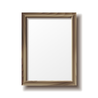 Wooden rectangular photo frame with shadow.
