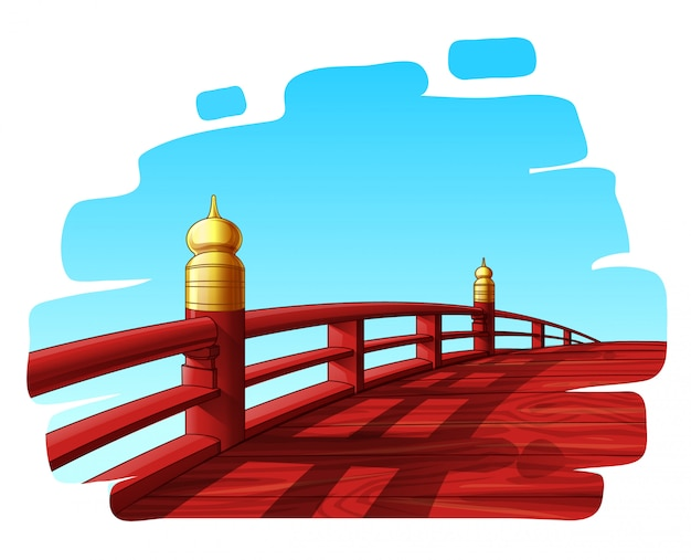 Wooden red japanese arched bridge vector