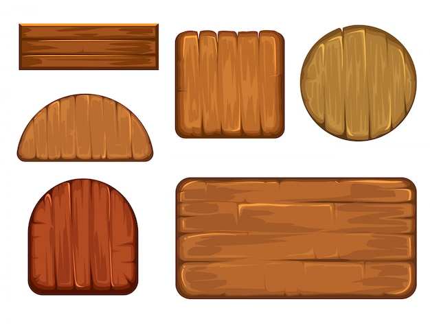 Wooden retro labels vector set.