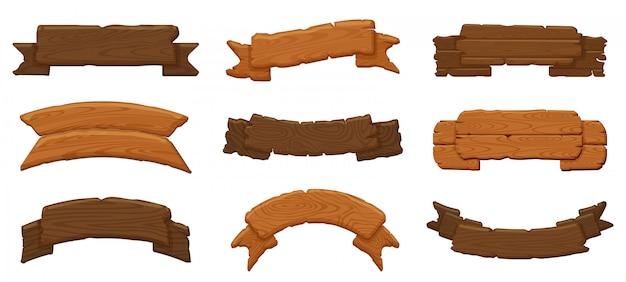나무 리본 보드. 나무 골동품 사인 보드, 매달려 나무 빌보드 및 빈 소박한 배너 그림 아이콘을 설정합니다. 나무 판자 보드, 나무 패널 표지판