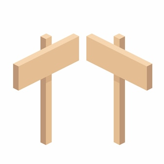 Wooden road sign on a stand in isometric