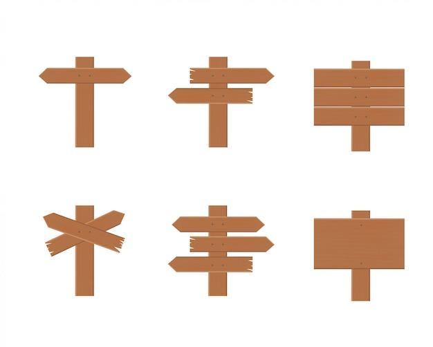 Wooden road signposts set
