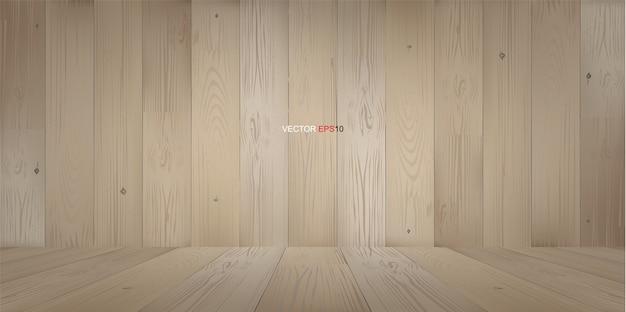 遠近法の木製の床と木製の部屋スペースの背景