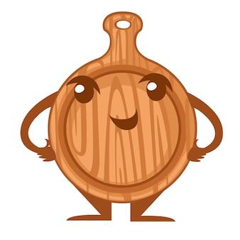 Деревянная круглая разделочная доска. талисман кухонной утвари. дизайн персонажей из мультфильма. плоский рисунок, изолированные на белом фоне.