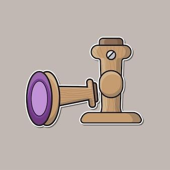 木製のゴム印ツールベクトル