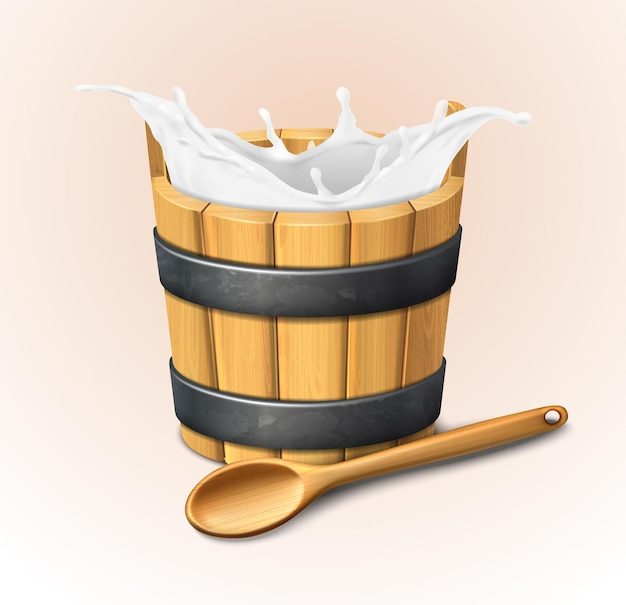 Wooden rustic bucket isolated on white