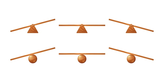 Wooden seesaw kids swing of board on triangle or circle stand vector cartoon set of unbalanced and e...
