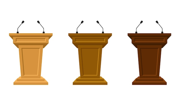 Wooden set of three colored tribunes stand rostrum with microphones. podium or pedestal stand for speech or public pulpit for orator. tribute for press conference or media, politics communication.