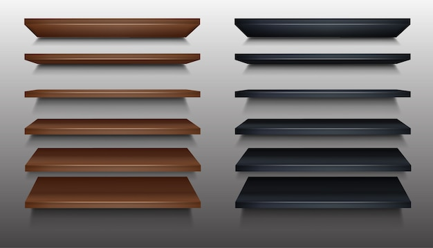 Деревянная полка коричневого и черного цвета в перспективе.