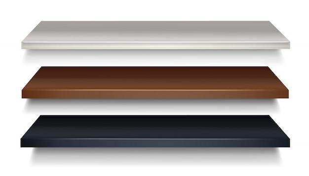 Деревянная полка коричневого и черного цвета, белого цвета в перспективе. Premium векторы