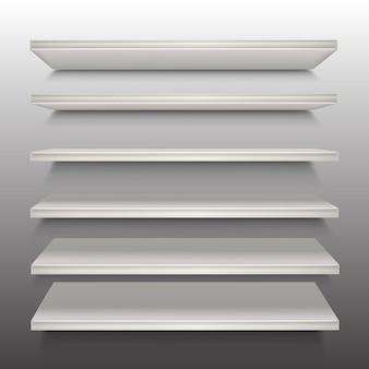 Деревянная полка белого цвета в перспективе. Premium векторы