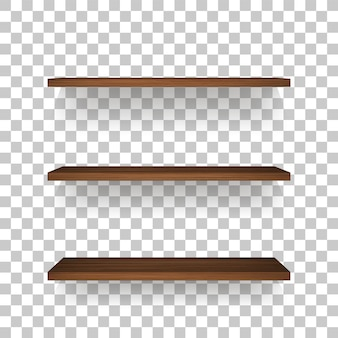 Wooden shelf on transparent background.