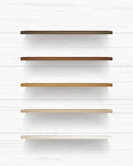 부드러운 그림자와 흰색 나무 벽 배경에 나무 선반. 벡터 일러스트 레이 션.
