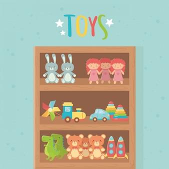 Деревянная полка ракета медведь кукла кролик динозавр автомобильный поезд игрушки