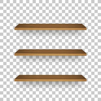 Wooden shelf on transparent background with soft shadow.