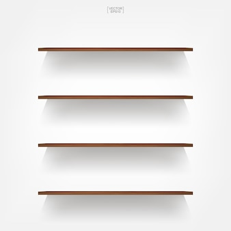 Wooden shelf on white background.