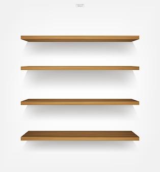 Wooden shelf on white background.