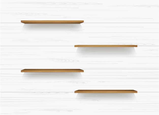 Wooden shelf on white wall background.