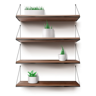Wooden shelves hanging on ropes with plants pots