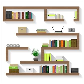 Wooden shelves for living