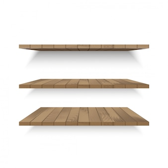 Wooden shelves on wall with soft shadow. vector