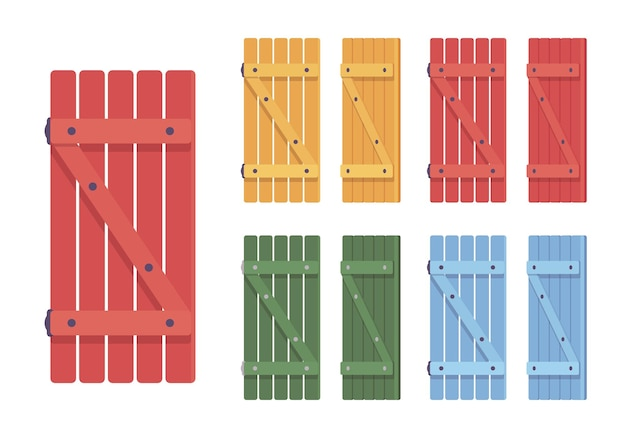 Wooden shutter set. bright rustic cottage design and home security, house protecting architecture element. vector flat style cartoon illustration isolated, white background, different views and colors