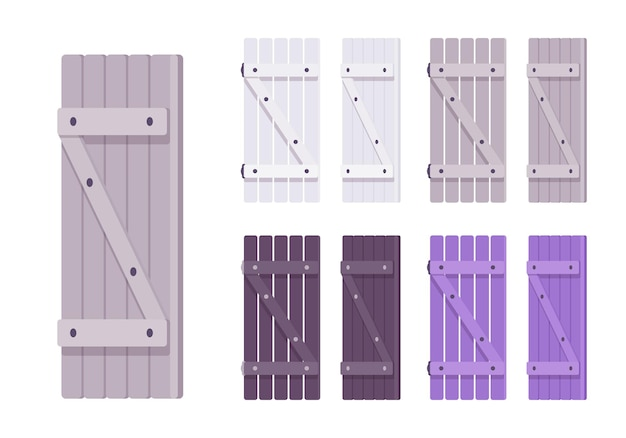 Wooden shutter set. rustic cottage design and home security, house protecting architecture element. vector flat style cartoon illustration isolated, white background, different views and colors