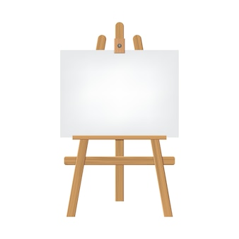 Wooden sienna easels with empty blank canvas isolated on white background