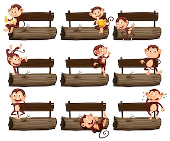 Wooden sign and many monkeys on log illustration