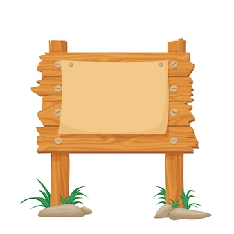 Wooden sign for announcements. cartoon wooden poster noticeboard travel marketing.