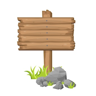 Wooden sign board on grass in cartoon style