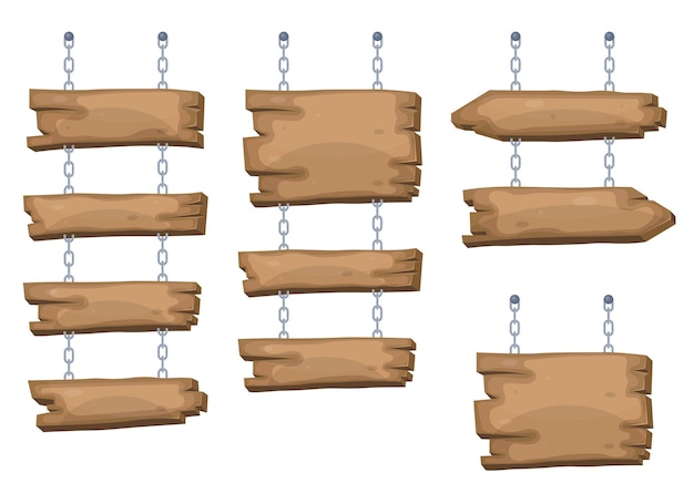 Wooden sign boards hanging from chain