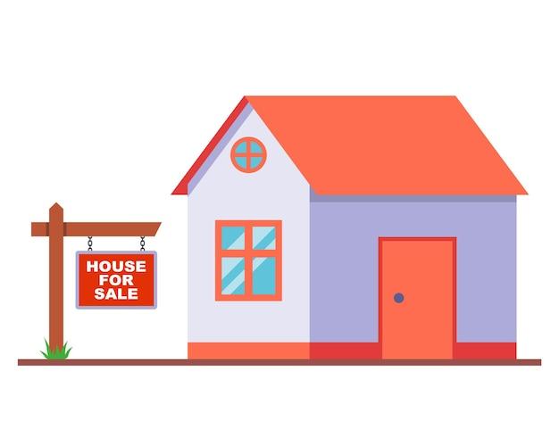 Деревянная вывеска о продаже дома. объявления от хозяина дома. плоские векторные иллюстрации.
