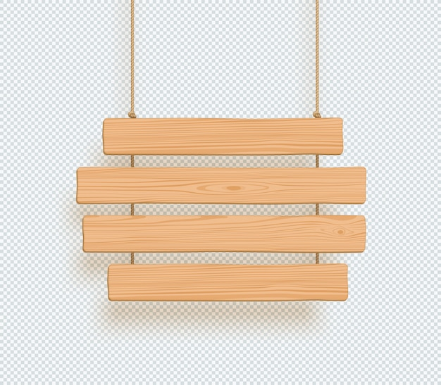 Wooden sign four hanging planks