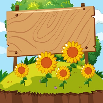 Wooden sign in sunflower garden