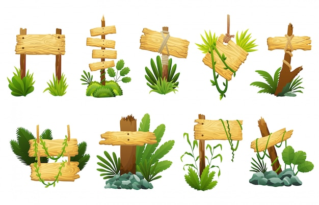 Wooden sign in jungle rainforest with tropical leaves. cartoon game vector