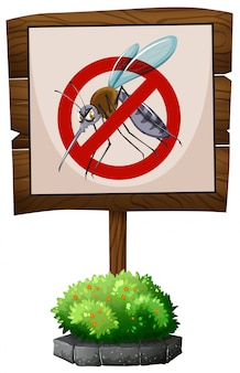 Wooden sign of no mosquitoes