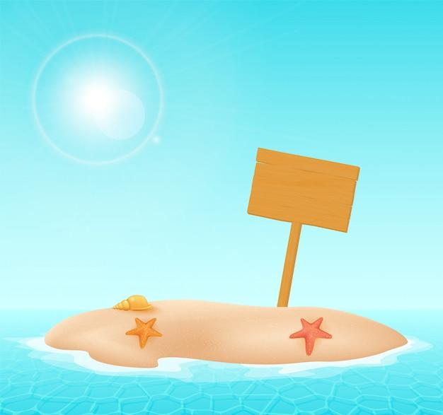 イラスト、海の砂の島の木製看板。島のイラスト