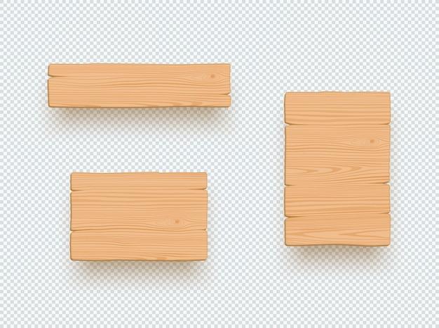 Деревянный знак простой пустой набор элементов 3d доска