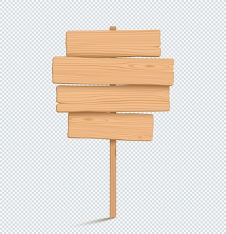 Wooden sign plain empty 3d four stacked planks list