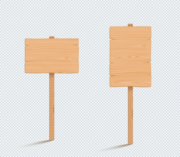 Wooden sign plain empty 3d vector illustrations
