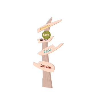 Wooden sign pointer with the inscription of different european countries