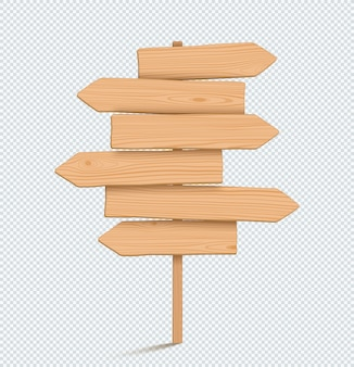 Wooden sign post plain empty 3d direction arrow