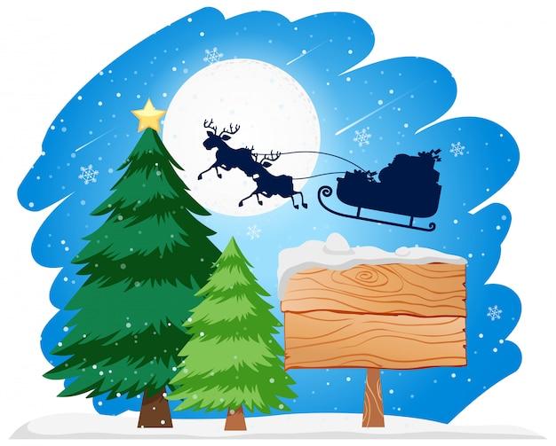 Wooden sign santa in sleigh concept